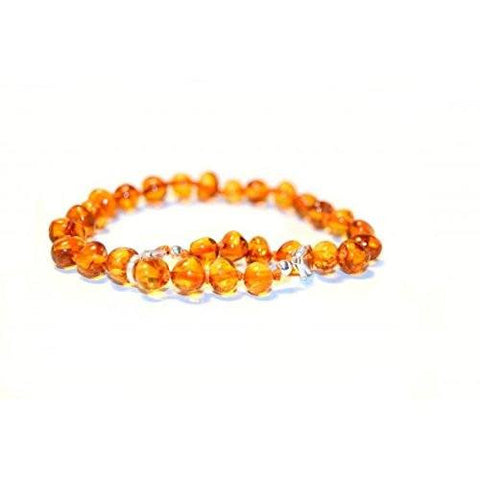 (10 in) Certified Baltic Amber Adjustable Bracelet or Anklet - Silver Lobster Clasp - Honey