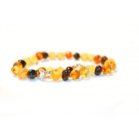 (10in) Certified Baltic Amber Adjustable Bracelet or Anklet - Silver Lobster Clasp - MultiColored