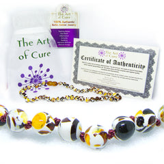 (12.5in) Certified Baltic Amber Teething Necklace for Baby - Mosaic