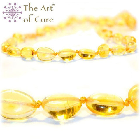 (12.5 in) The Art of Cure Teething Necklace - Lemon Bean