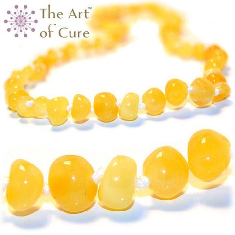 (12.5in) Certified Baltic Amber Teething Necklace for Baby (Butter) - Anti-inflammatory