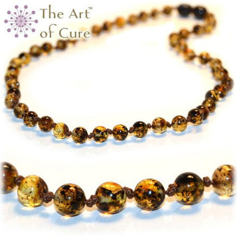(12.5in) Certified Baltic Amber Teething Necklace for Baby - Green