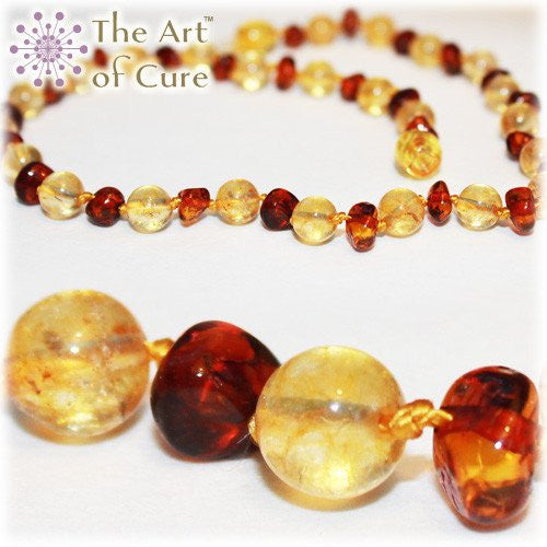 (12.5in) Semi-Precious & Certified Baltic Amber Teething Necklace for Baby - Honey/Citrine -  - The Art of Cure