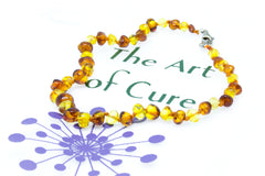 (10in) Certified Baltic Amber Adjustable Bracelet or Anklet - Silver Lobster Clasp - Honey/Lemon -  - The Art of Cure