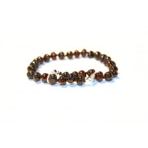 (10 in) Certified Baltic Amber Adjustable Bracelet or Anklet - Silver Lobster Clasp - Cherry