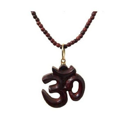 (18in) Healing Meditation Rosewood Om Necklace/Mala Beads