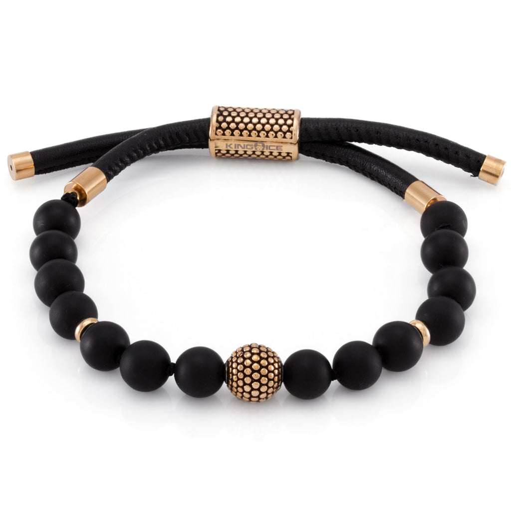 The Beaded Leather Wrap (Gold)