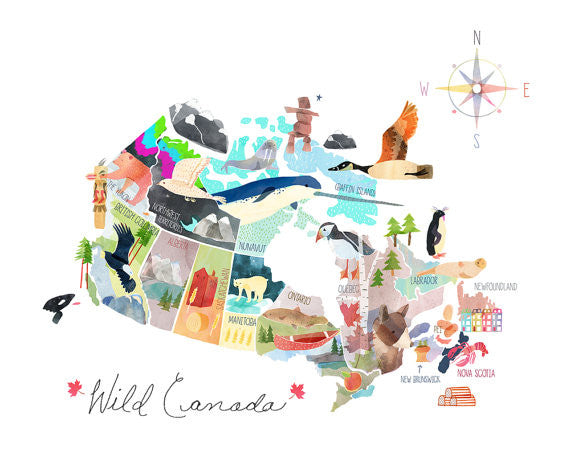 Moon and Sparrow Wild Canada Print | kids at home