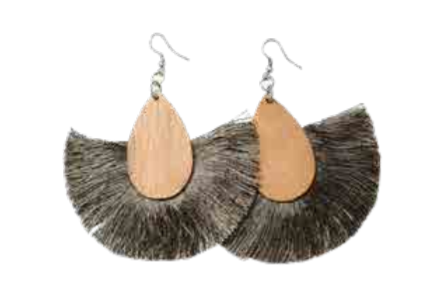 Alena Earrings - Wood & Khaki