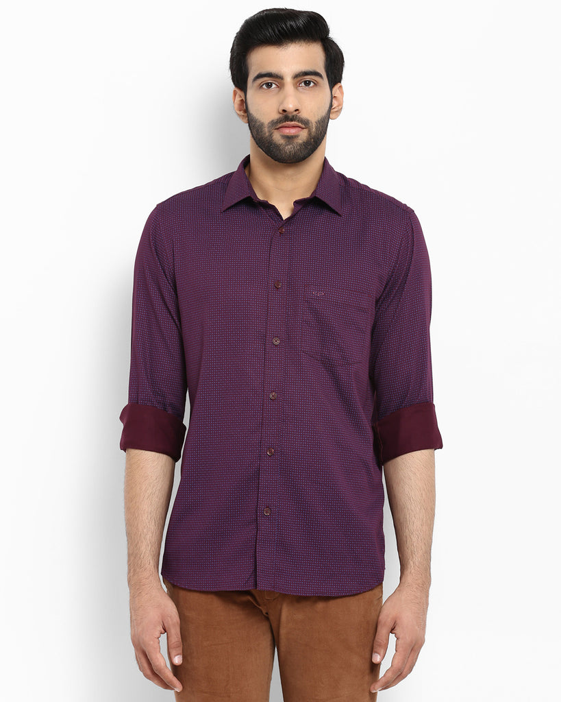 ColorPlus Purple Tailored Fit Shirt