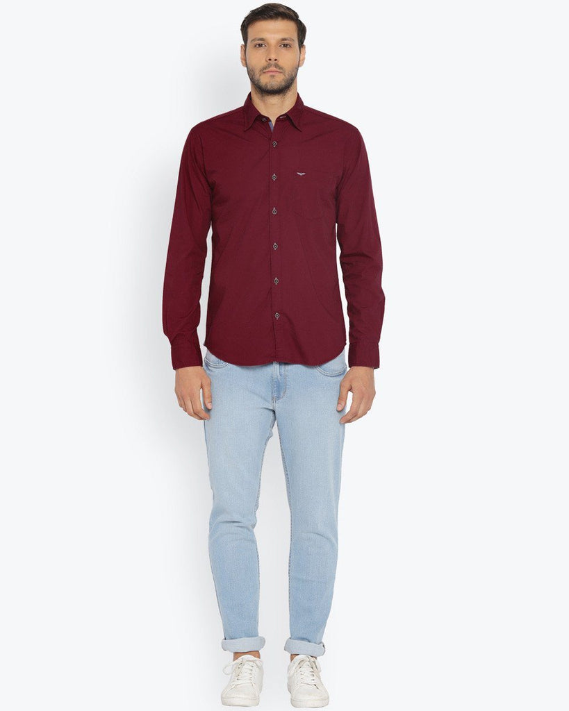 Park Avenue Dark Red Slim Fit Shirt