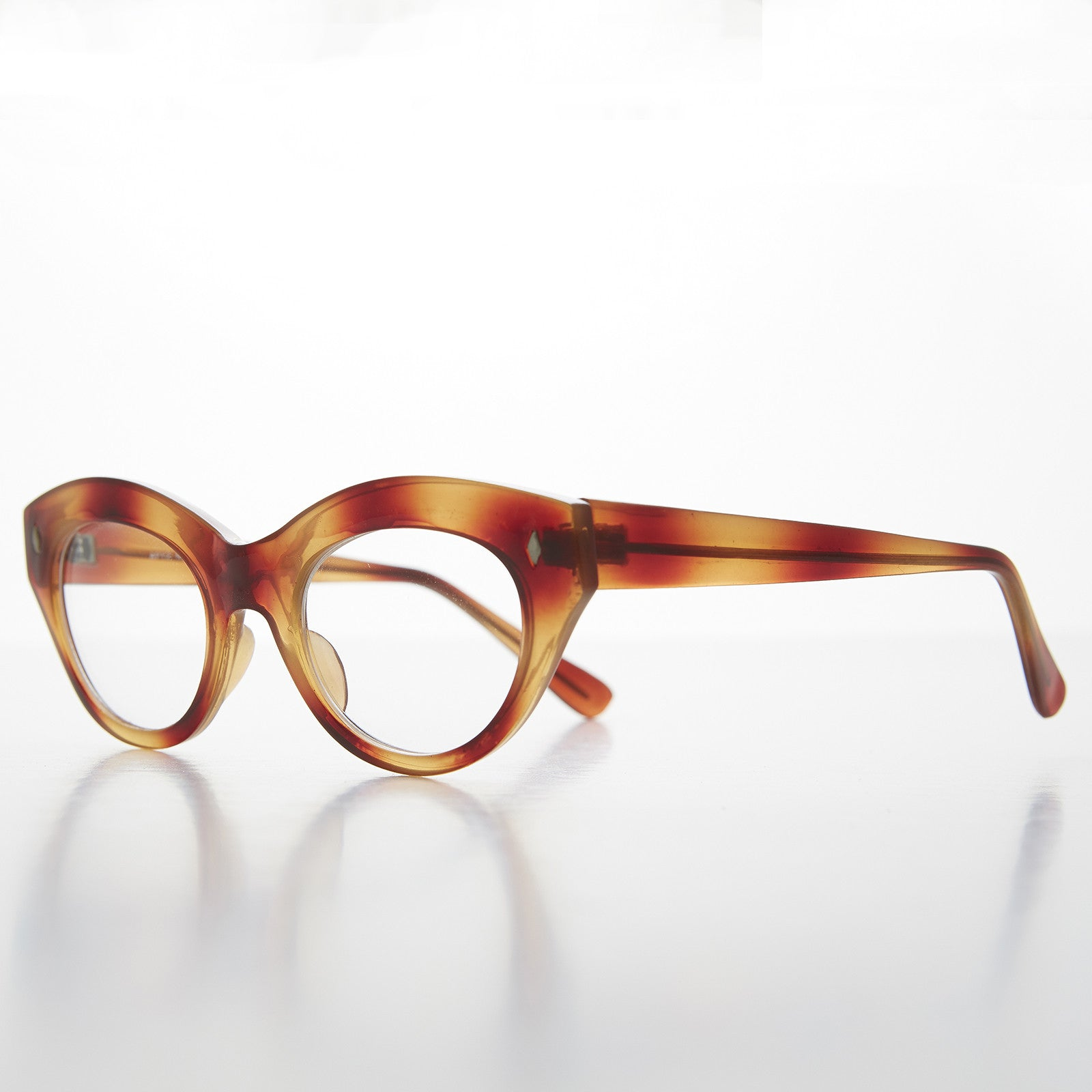 tortoiseshell cat eye clear lens vintage glasses