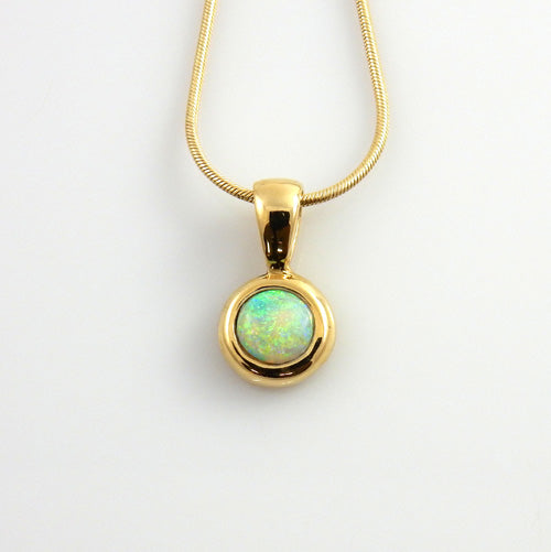 14kt Yellow Gold Natural Opal Inlay Pendant