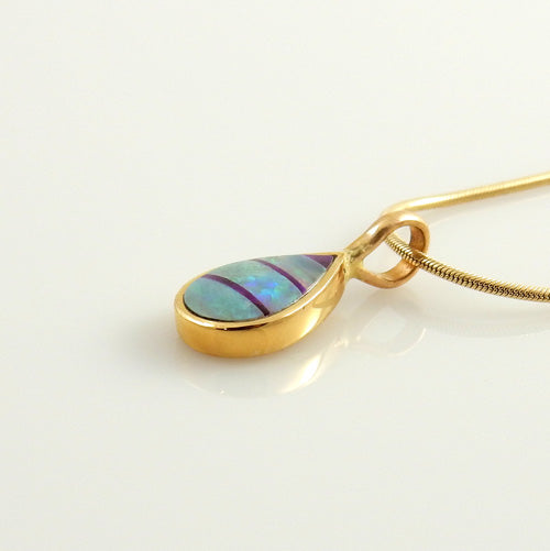 14kt Yellow Gold Opal and Sugilite Inlay Pendant