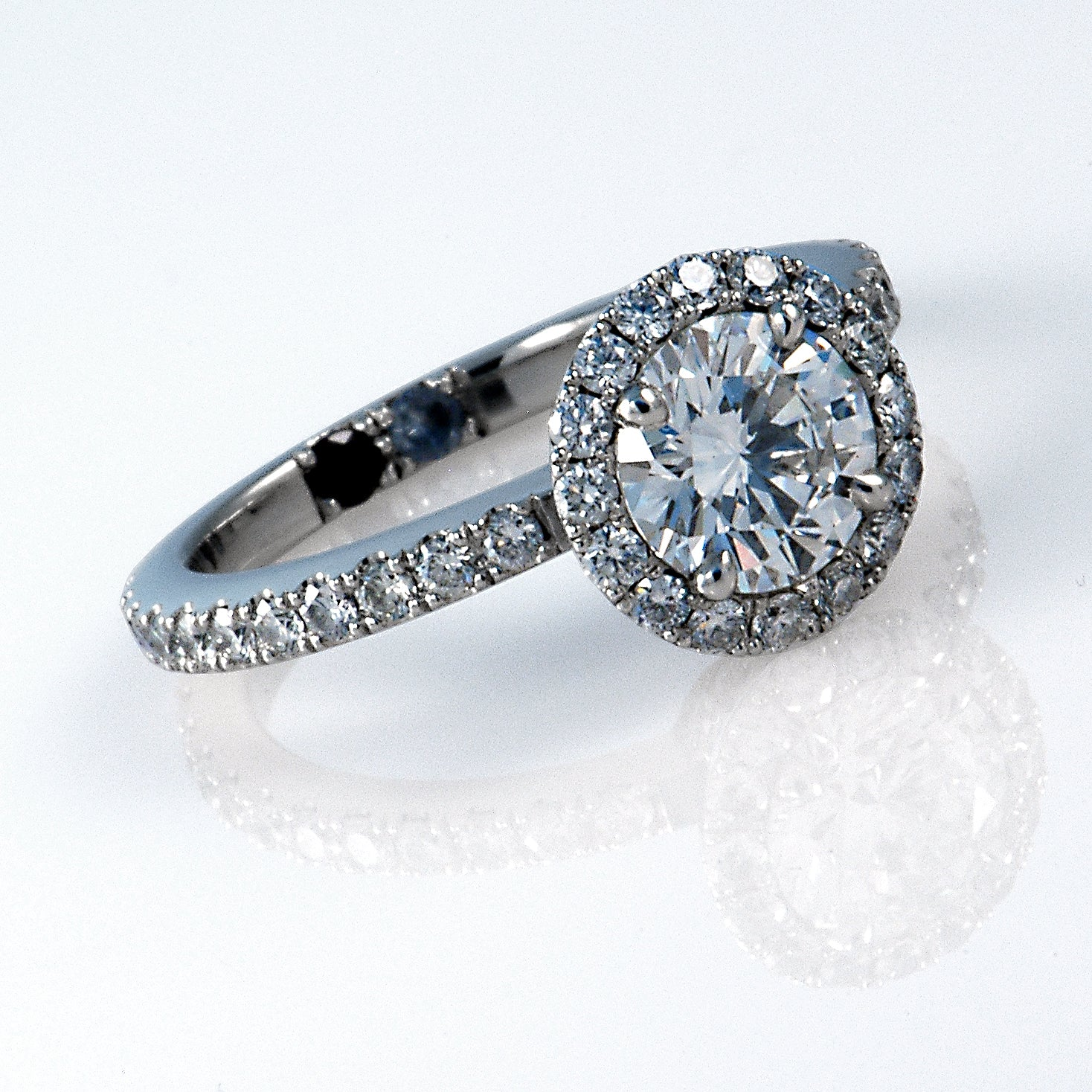 Handmade Diamond Halo Platinum Engagement Ring