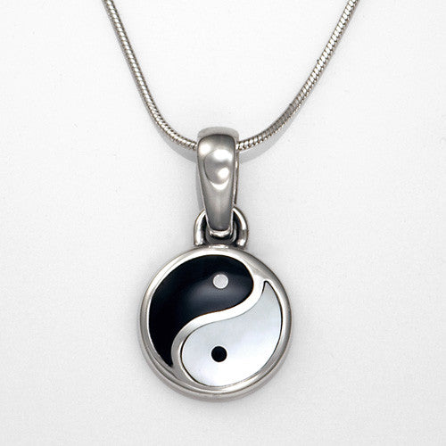 sterling silver black onyx mother of pearl yin yang pendant