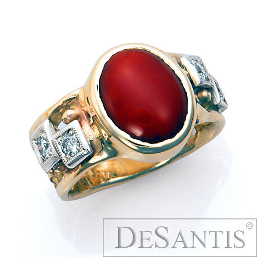14kt gold coral diamond ring