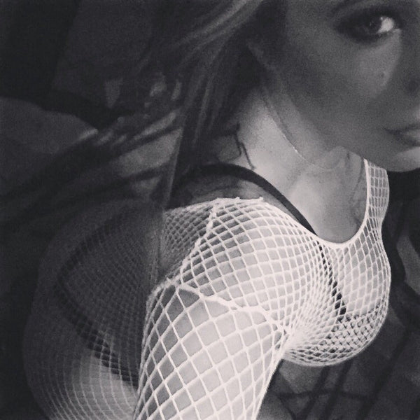 white fishnet dress