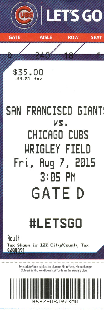 Chicago Cubs Ticket Stub 2015 08/07/15 Box Office Stock
