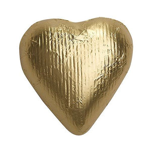 All City Candy Gold Foiled Solid Milk Chocolate Hearts - 2 LB Bulk Bag Bulk Wrapped SweetWorks For fresh candy and great service, visit www.allcitycandy.com