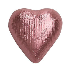 All City Candy Light Pink Foiled Solid Milk Chocolate Hearts - 2 LB Bulk Bag Bulk Wrapped SweetWorks Default Title For fresh candy and great service, visit www.allcitycandy.com