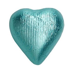 All City Candy Tiffany Blue Foiled Solid Milk Chocolate Hearts - 2 LB Bulk Bag Bulk Wrapped SweetWorks Default Title For fresh candy and great service, visit www.allcitycandy.com