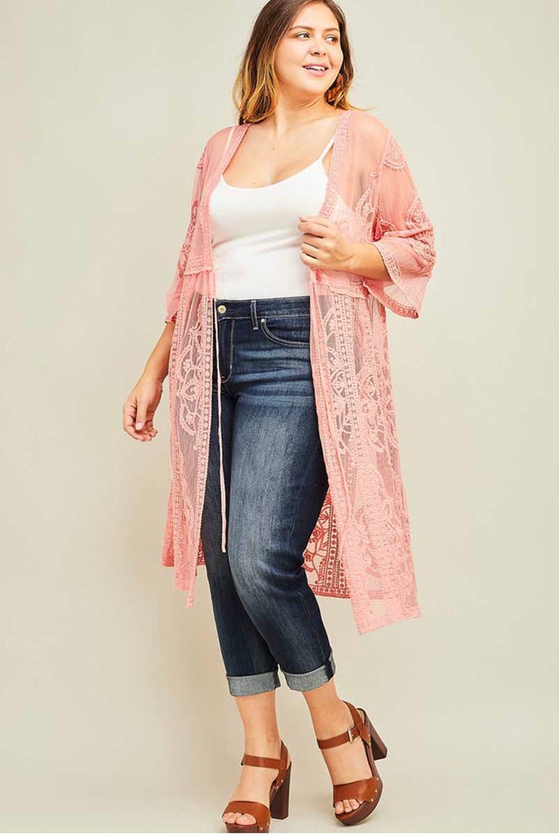 OT-H {Stay Classy} Apricot Lace Cardigan with Tie Front SALE!!