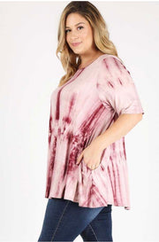 PSS-F {Hopes & Dreams} Maroon Tie-Dye Tunic W/ Pockets Extended Plus