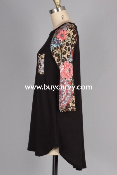 Cp-C {A Walk In The Park} Black Top With Floral Print Detail Contrast