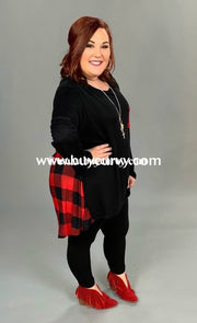 Cp-F Black/red Plaid Hi-Lo Stretchy Pocket Tunic {Extended Plus} Contrast