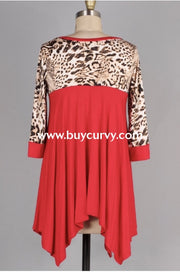 Cp-L {Dance In The Rain} Asymmetrical Red Leopard Extended Plus Contrast