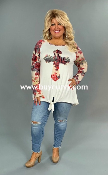 Cp-P {Willing To Serve} Ivory Front Tie Top With Floral Cross/sleeves Contrast