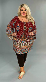 PQ-R {Extended Plus} Burgundy Bohemian Jewel Tunic with Bell Sleeves  FLASH SALE!!