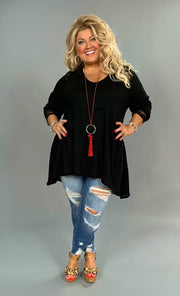 SLS-Q {She's Got Class} Black Waffle Knit V-Neck Tunic with Lace Detail