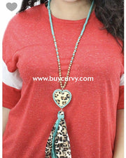 Nc-B Teal Leopard Print Necklace With Heart Pendant
