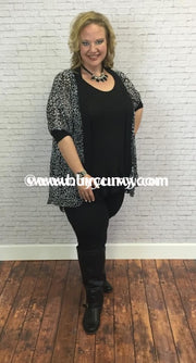 Ot-A Sheer Cardigan Black & White Design Print Outerwear