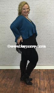 Ot-B Teal Bolero Top With Ruffle Hem Outerwear
