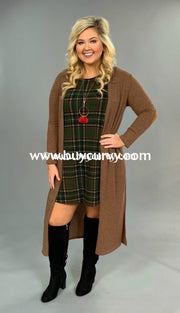 Ot-G Tan Open Front Long Knit Cardi With Side Slits Sale!! Outerwear