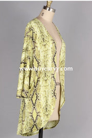 Ot-K {Leave Your Mark} Lime Green Snake Print Cardigan Outerwear