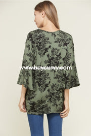 Pq-Q {Blessed Beyond Measure} Green/black Floral Top Sale!! Pq