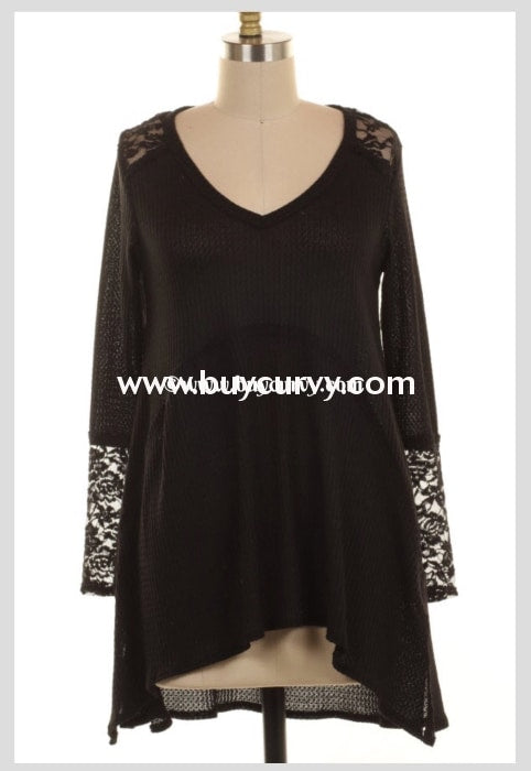 Sls-Q Black Perforated Knit V-Neck Top With Lace Detail Sls
