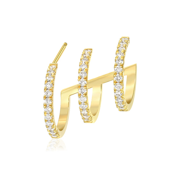triple diamond hoop earring vardui kara