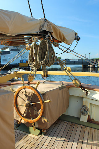 The wheel on Schooner Lynx Mystic Connecticut