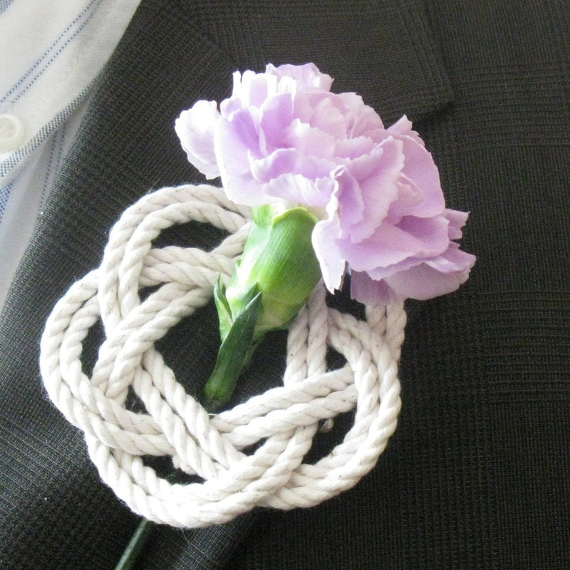Nautical Knot Sailor Knot Boutonniere handmade at Mystic Knotwork