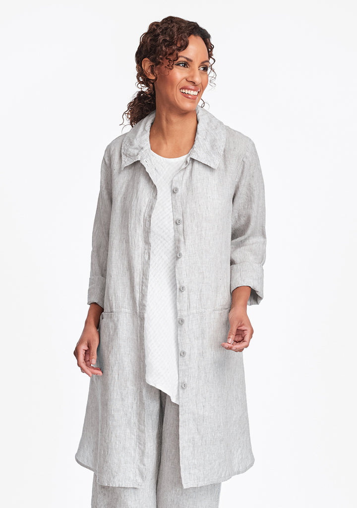 daily duster linen jacket grey