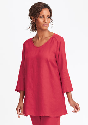 dreamy top linen shirt red