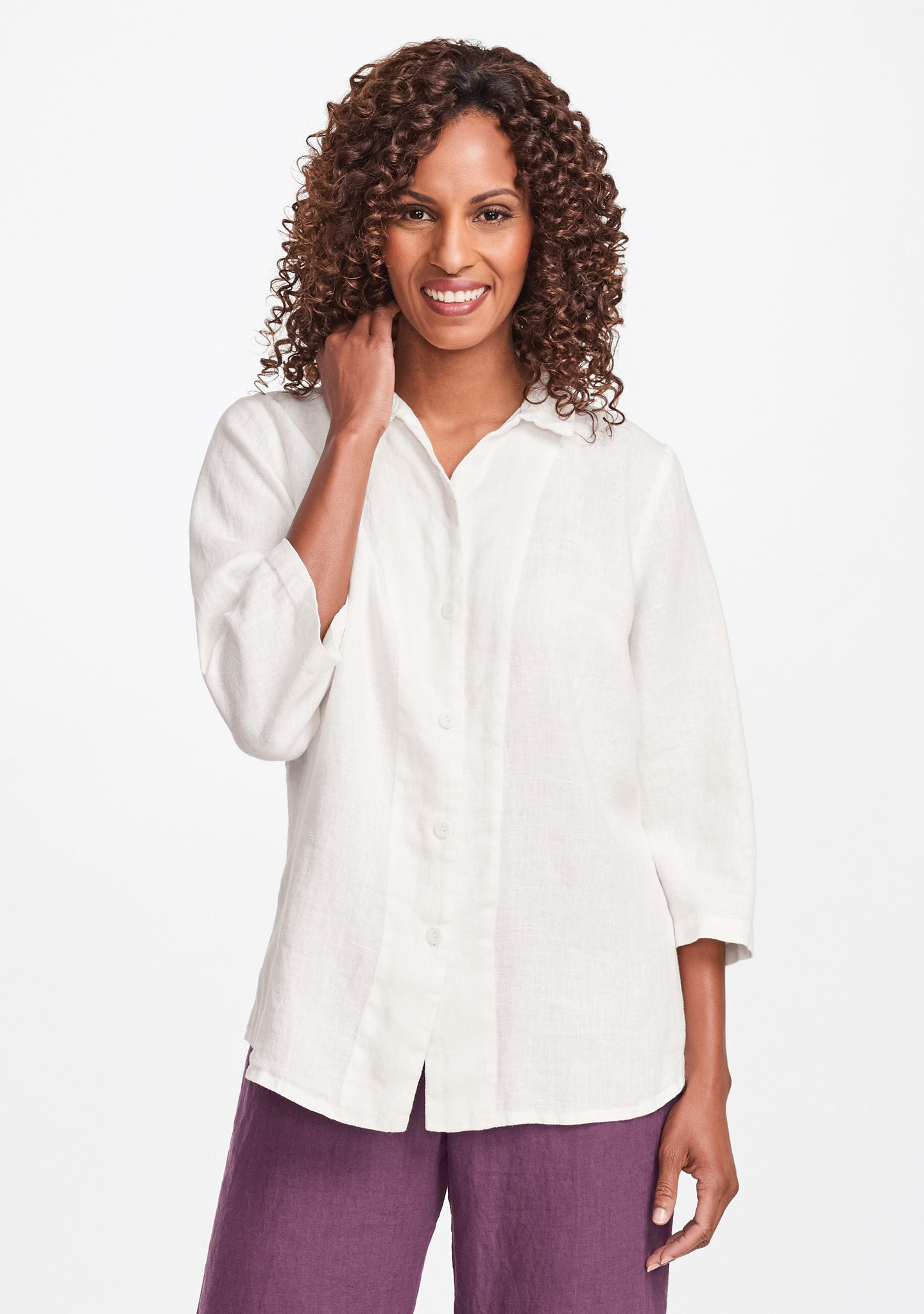 in-line blouse linen button down shirt white