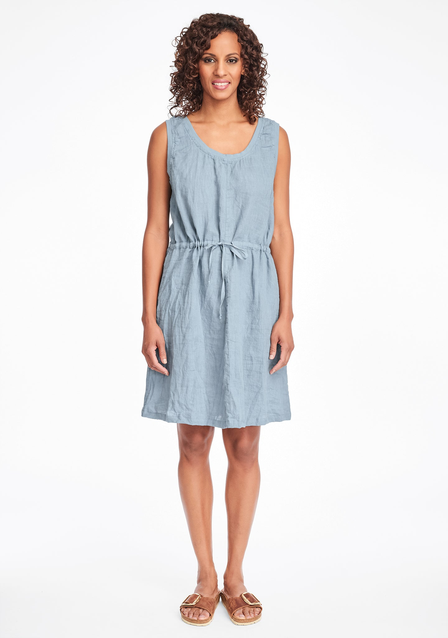 metro dress linen summer dress blue