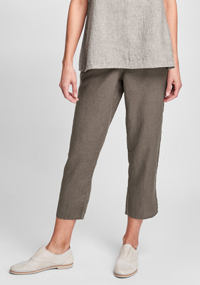 pocketed ankle pant linen pants blue