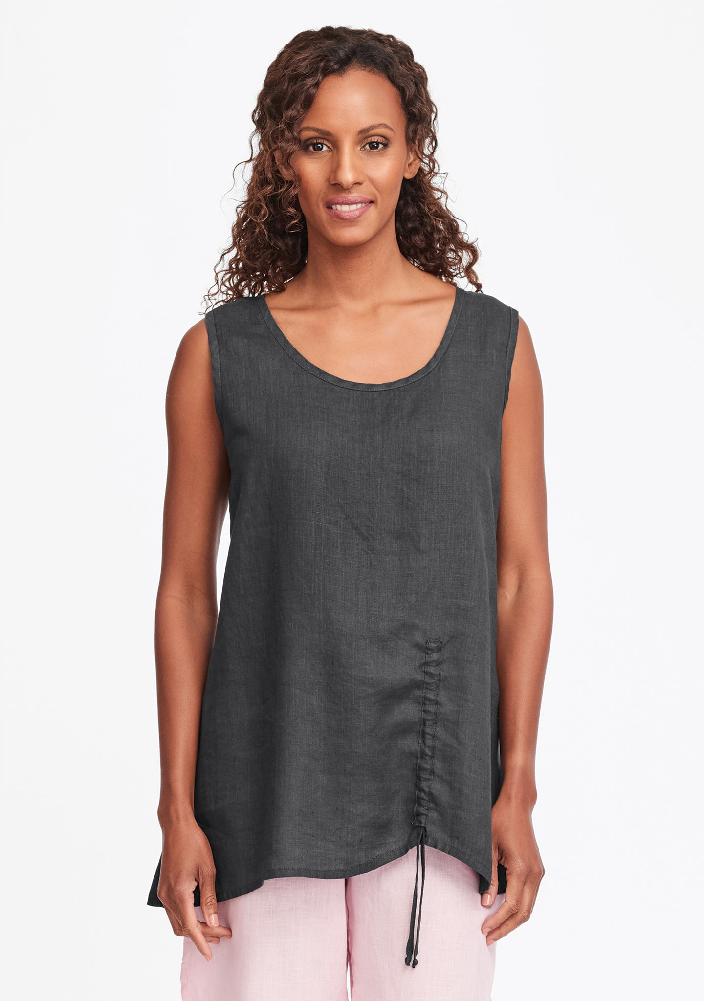 ruched tank linen tank top grey